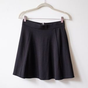Black flare mini skirt